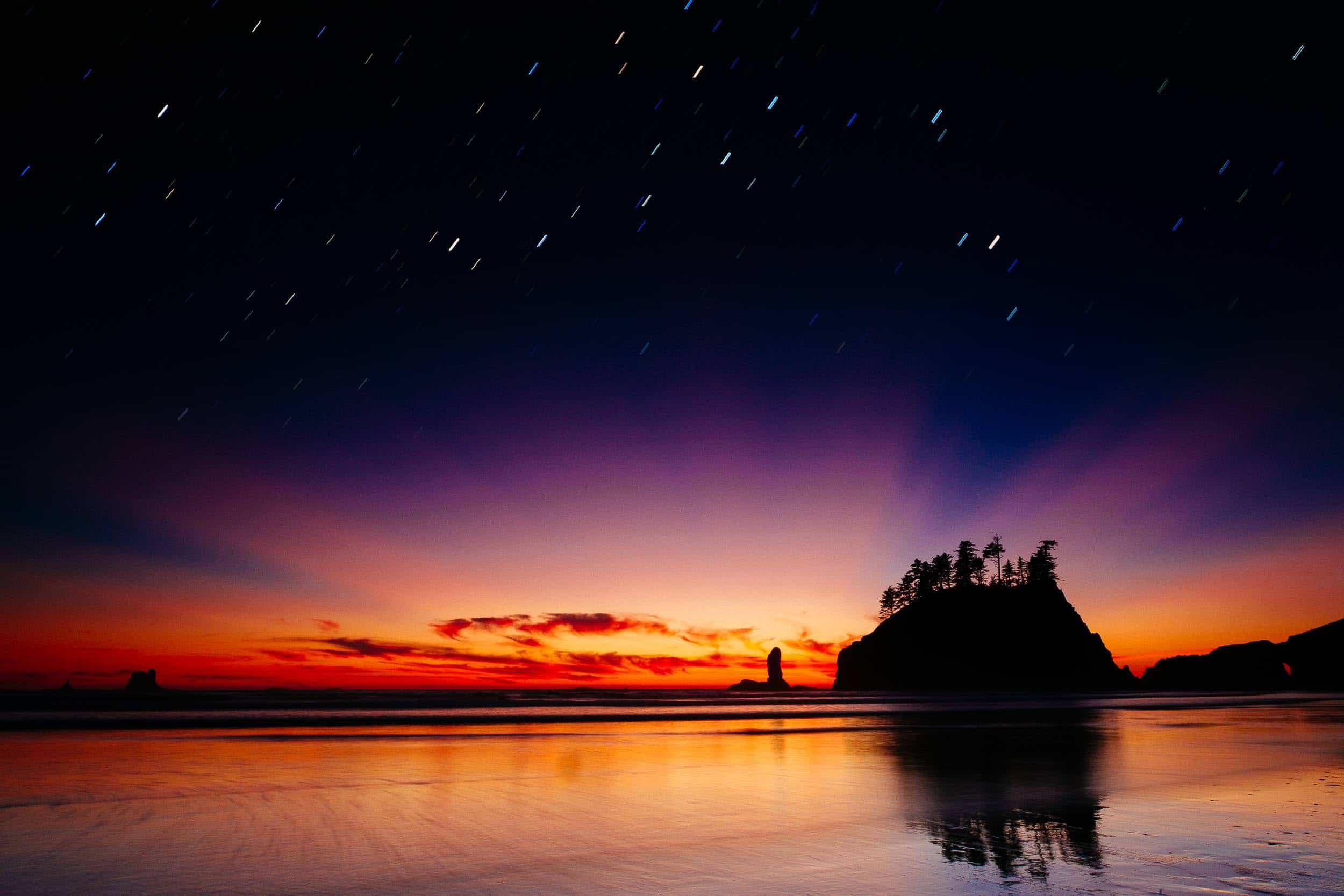 Olympic Photo Adventure - Seasick Silhouette with stars overhead