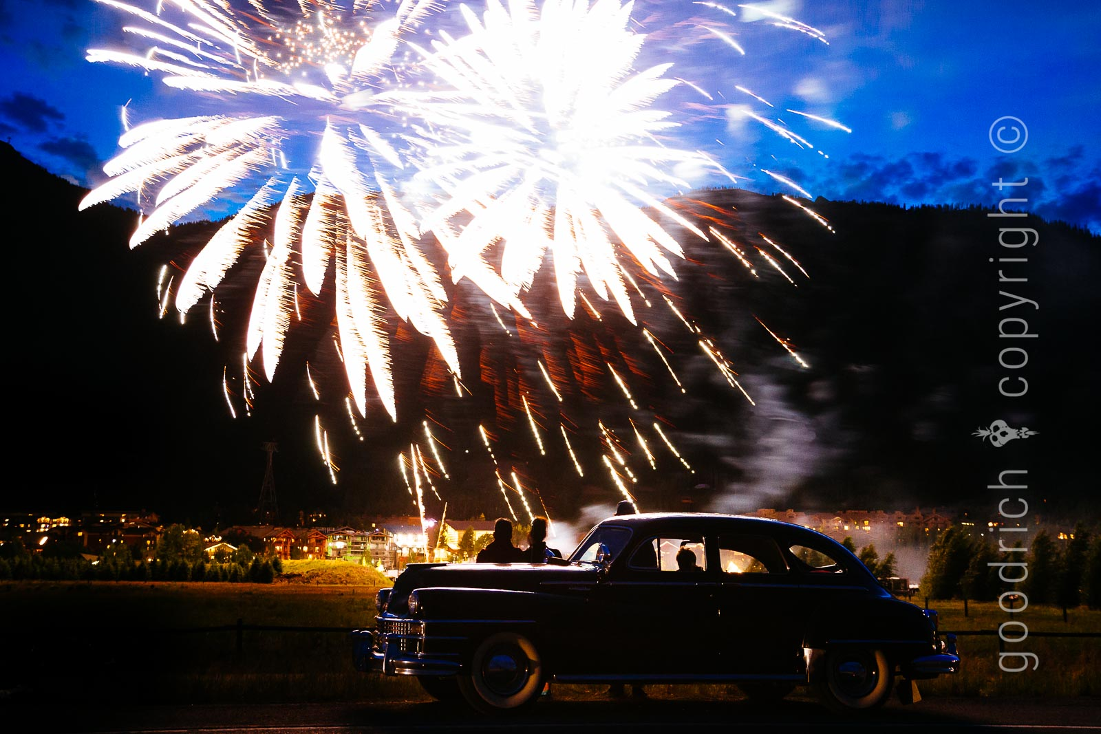 Photograph Fireworks - Car and Fireworks by Jay Goodrich