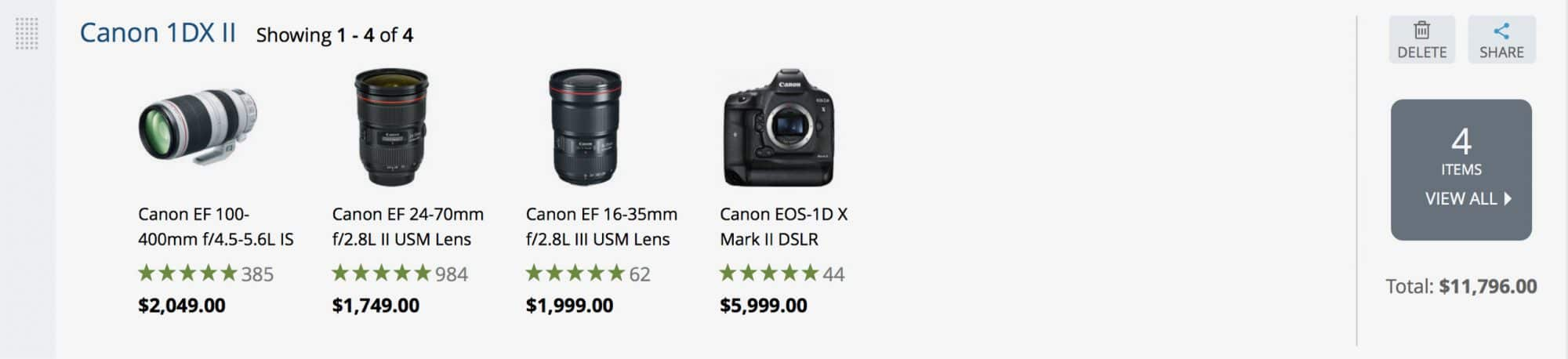 Canon 1DX Mark II pricing example