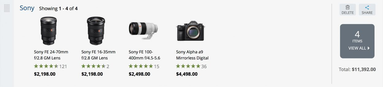 Sony a9 kit pricing example