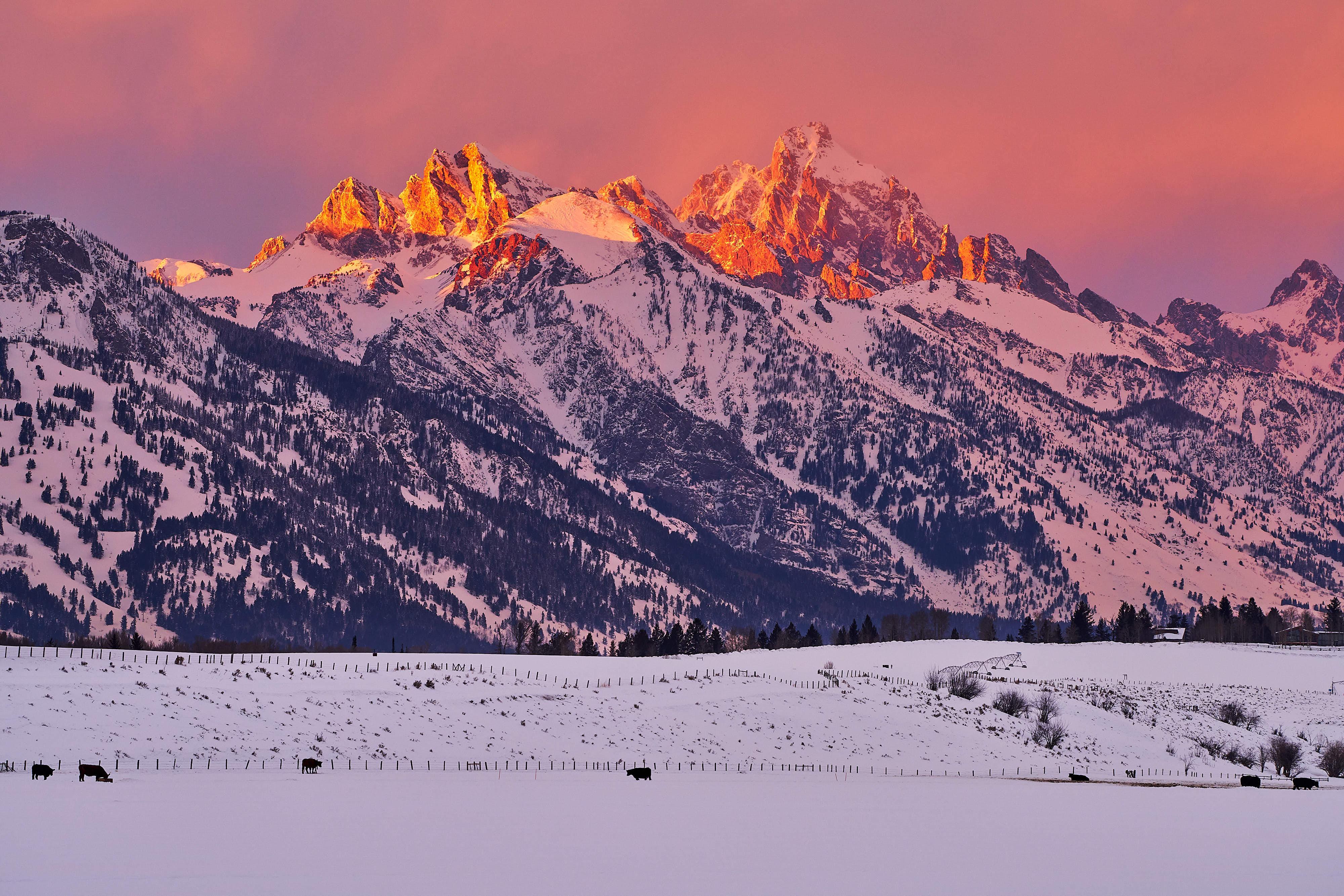 lightroom export tips - sunset over Grand Teton in Winter by Jay Goodrich