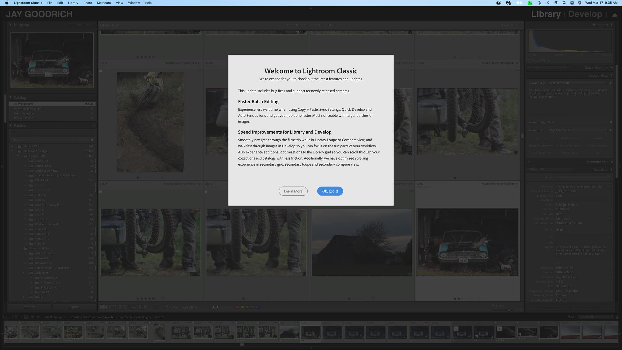 Adobe Lightroom Classic Update Screenshot by Jay Goodrich