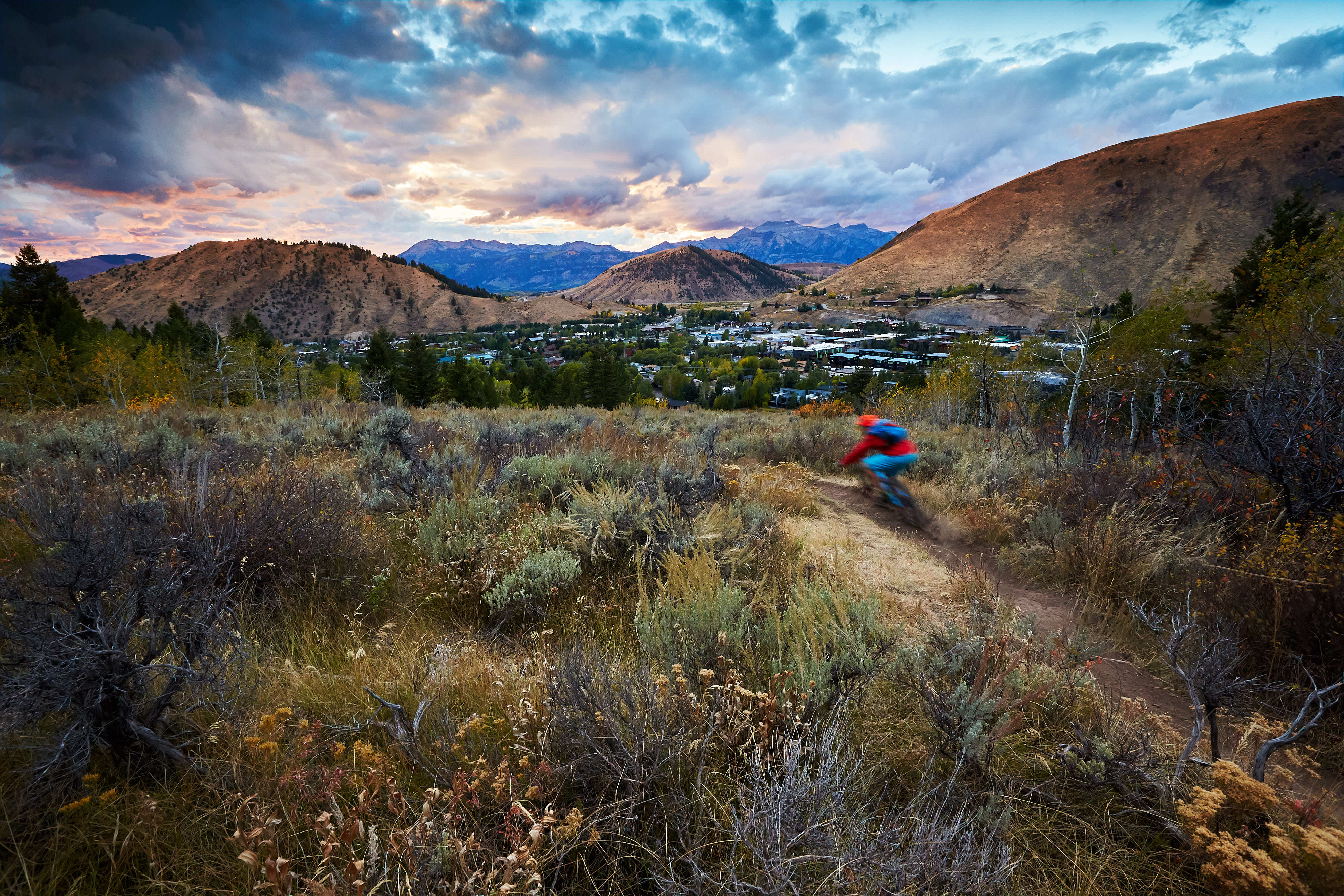 Mountain Biking Jackson Hole Sunset by Jackson Hole Professional Outdoor Sports Photographer Jay Goodrich