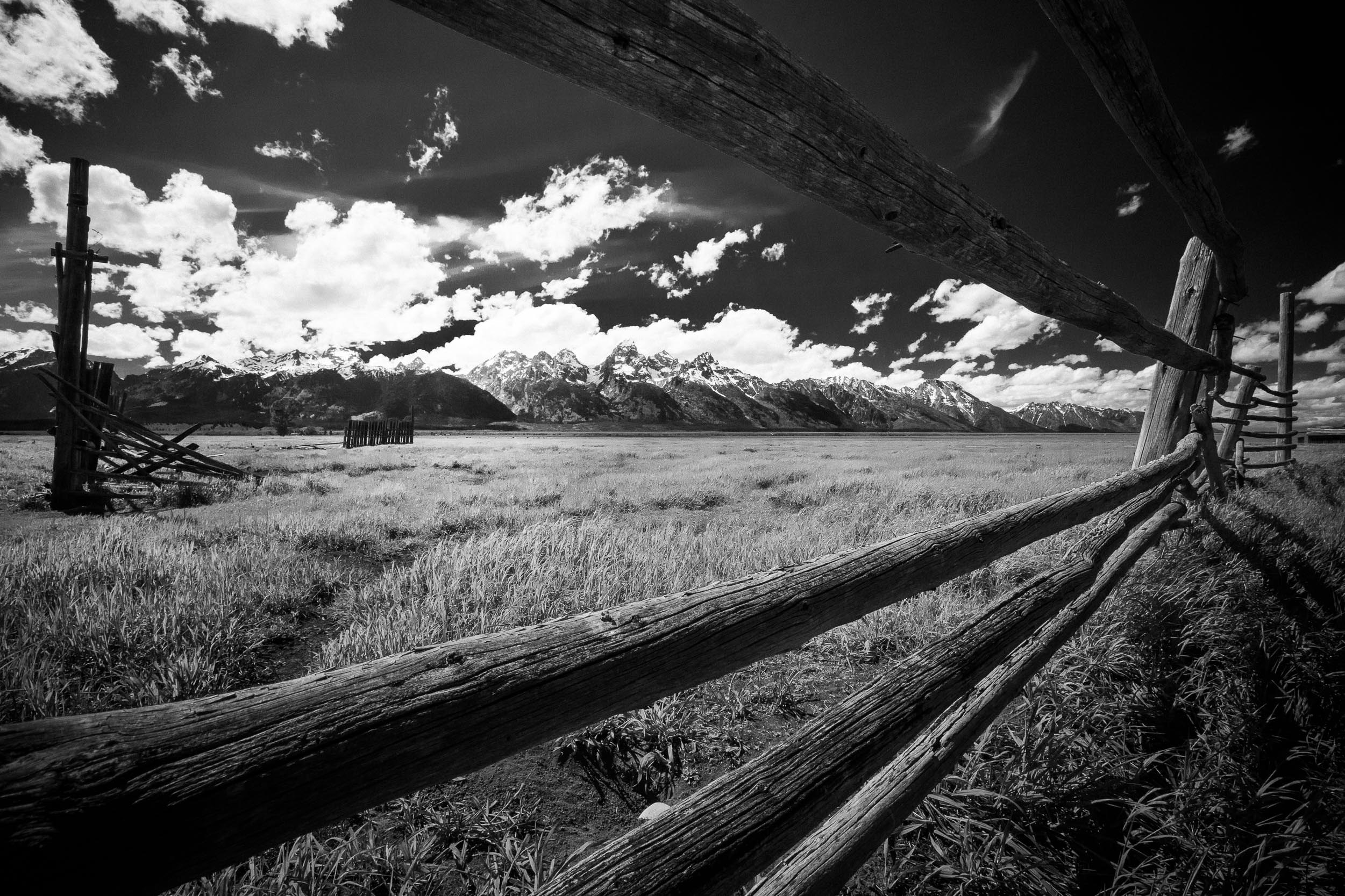 The old fence corral of the Mormon Row buildings in Grand Teton National Park