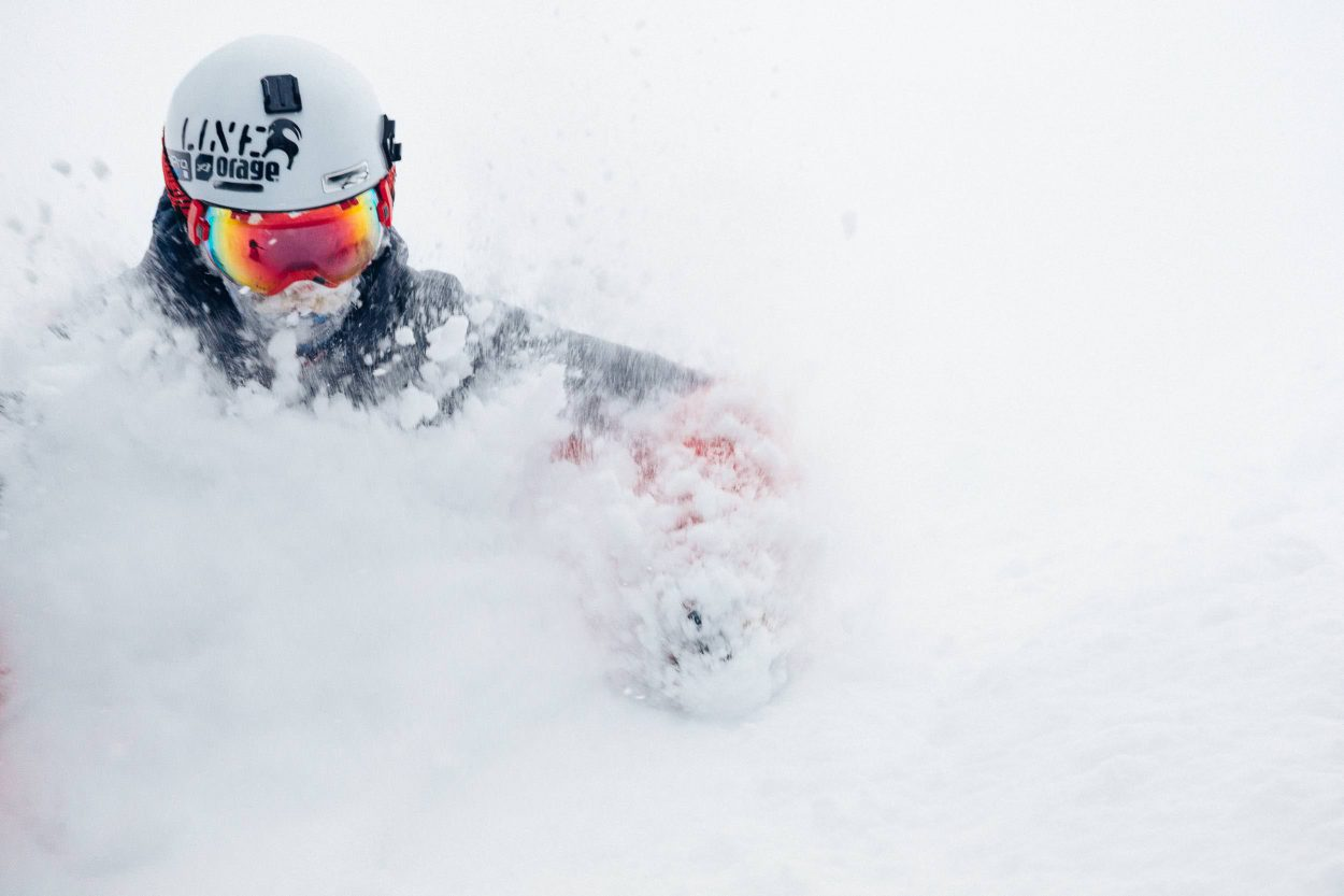 Andrew Whiteford blazes through 2 feet of new snow in-bounds at Jackson Hole Mountain Resort for Storm Dispatch One