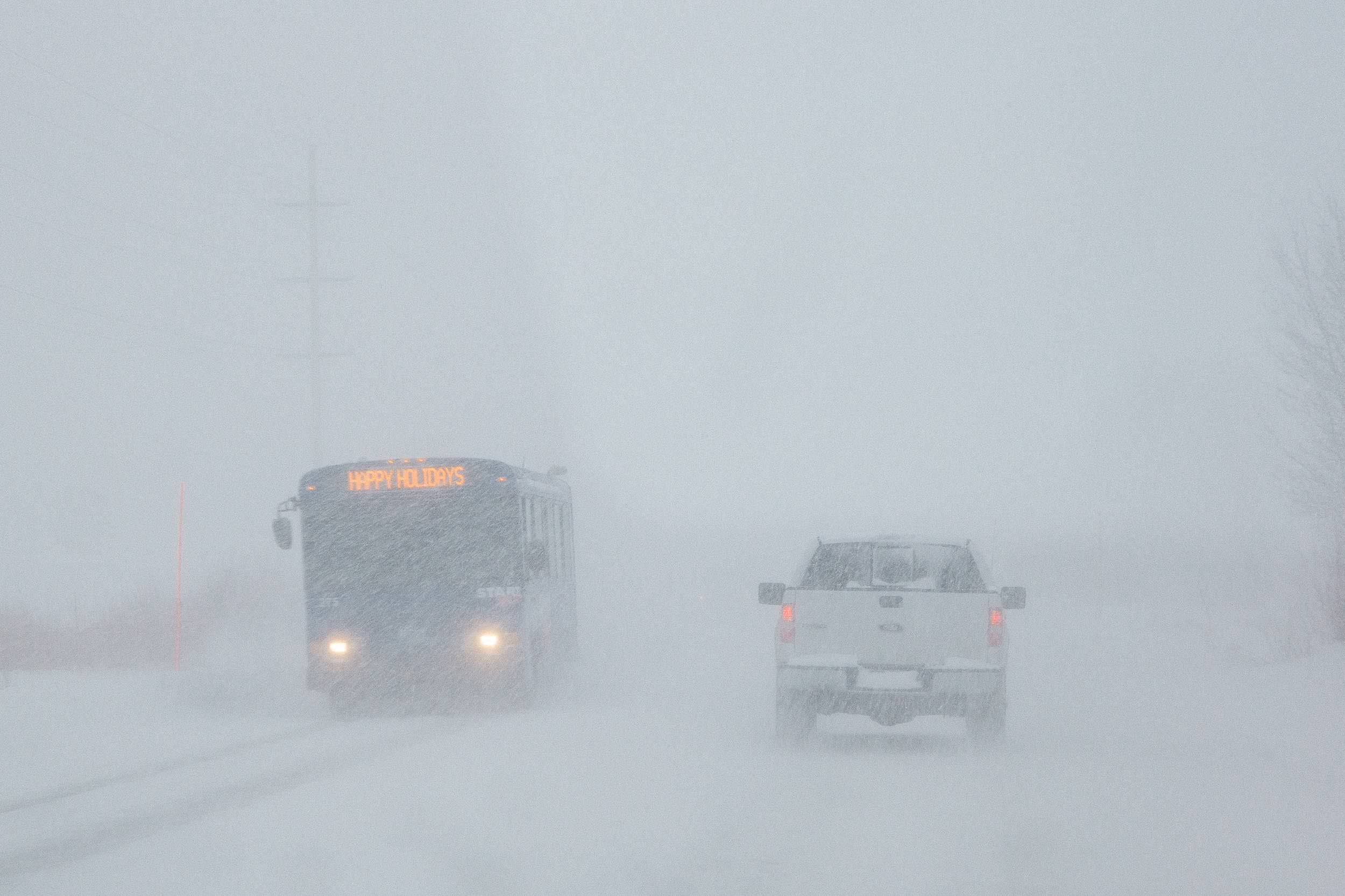 The Jackson Start bus headed back to town to pick up more skiers during a major winter snow storm