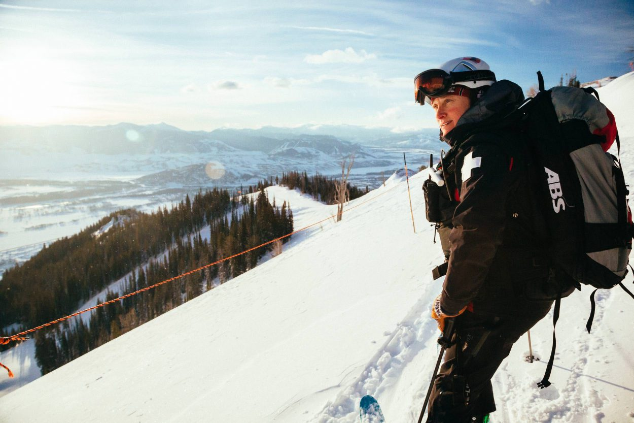 Portrait of ski patroller Jen Calder in the early morning hours for Meet Jen Calder