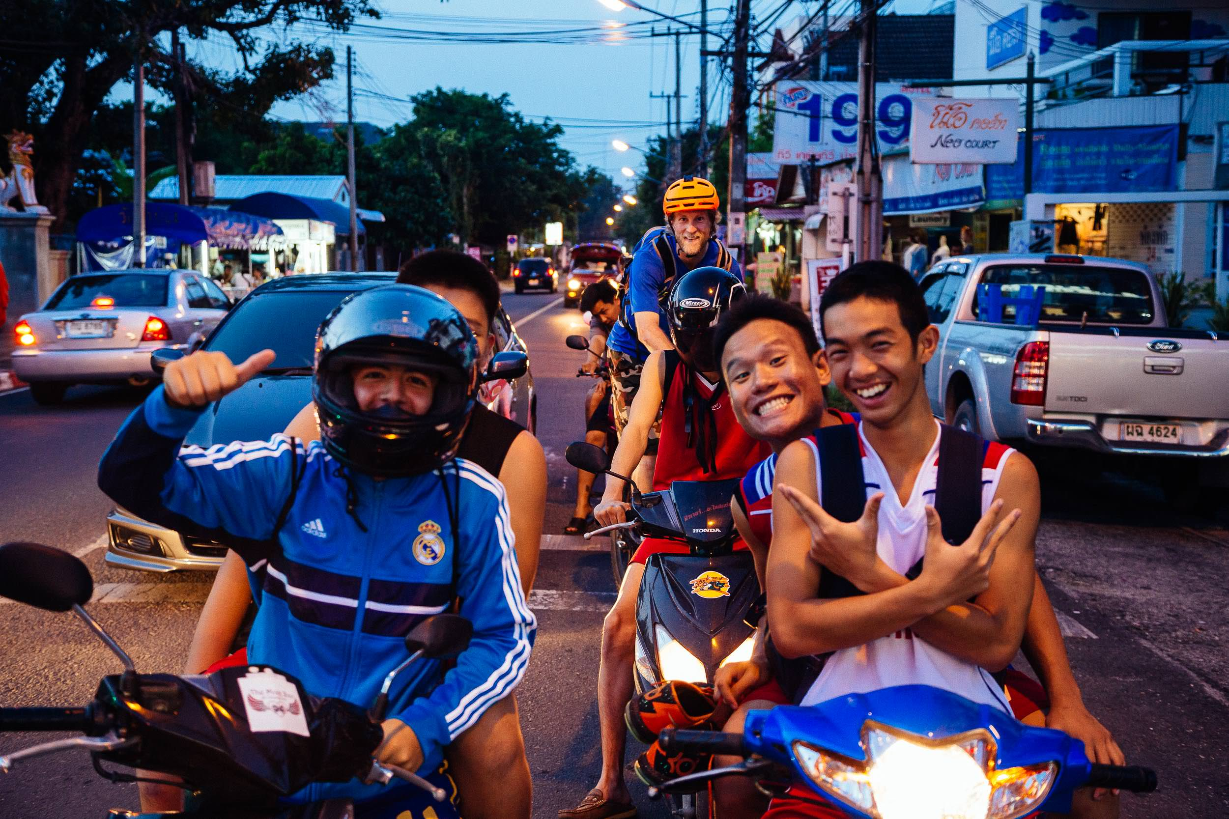 Andrew Whiteford and Jay Goodrich explore the local night market in downtown Chiang Mai, Thailand