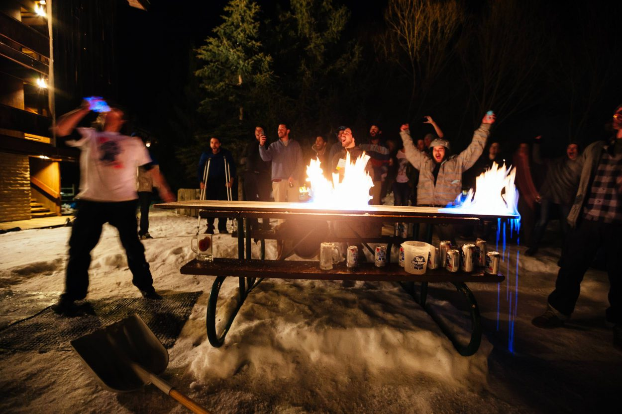 Cult of the Quaff - Hostel X team practice heading down the road of lighting the table on fire while passing beers to anyone willing to play with a mug of beer on fire