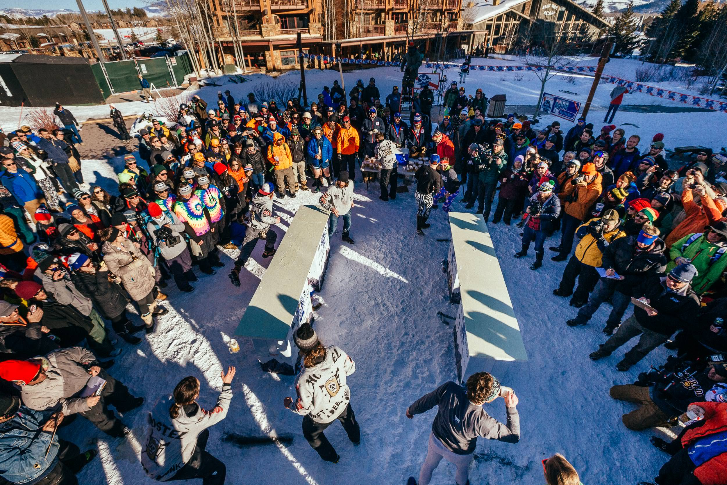 Team Hostel X vs. Team Local in round one of the 2015 Gelande Quaff in Teton Village, Wyoming