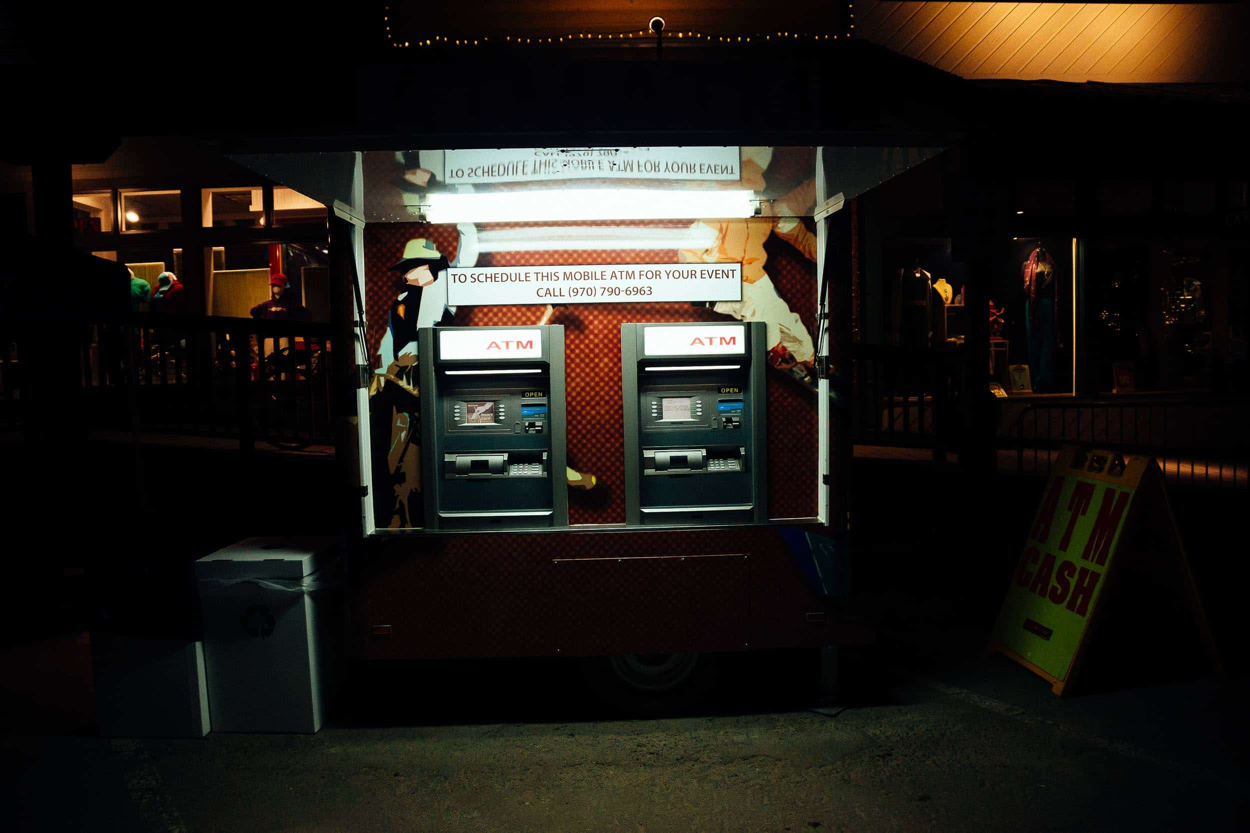 Portable ATM in the dark