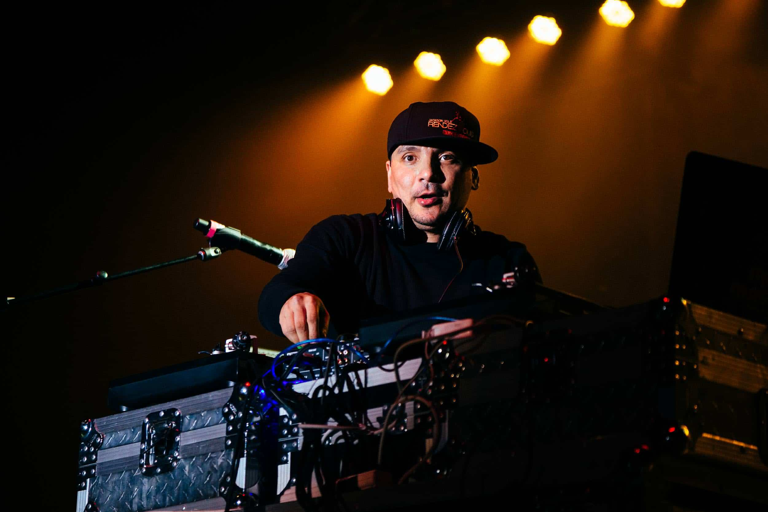 Mix Master Mike of the Beastie Boys performs to a packed crowd