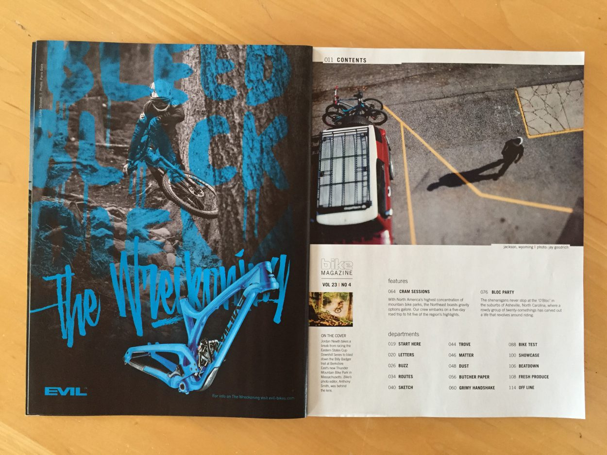 Photos in Print Tearsheets for the June Issue of Bike Magazine