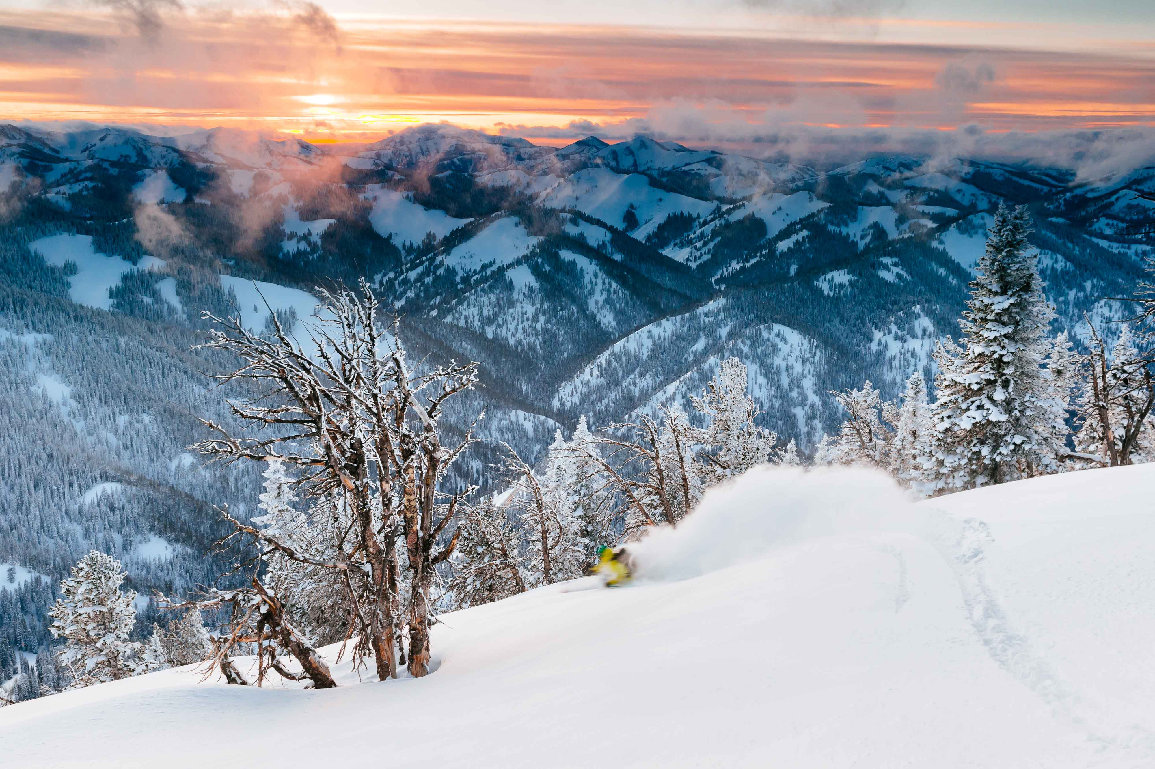 Forrest Jillson Skiing Powder at Sunset in the Tetons © Jay Goodrich