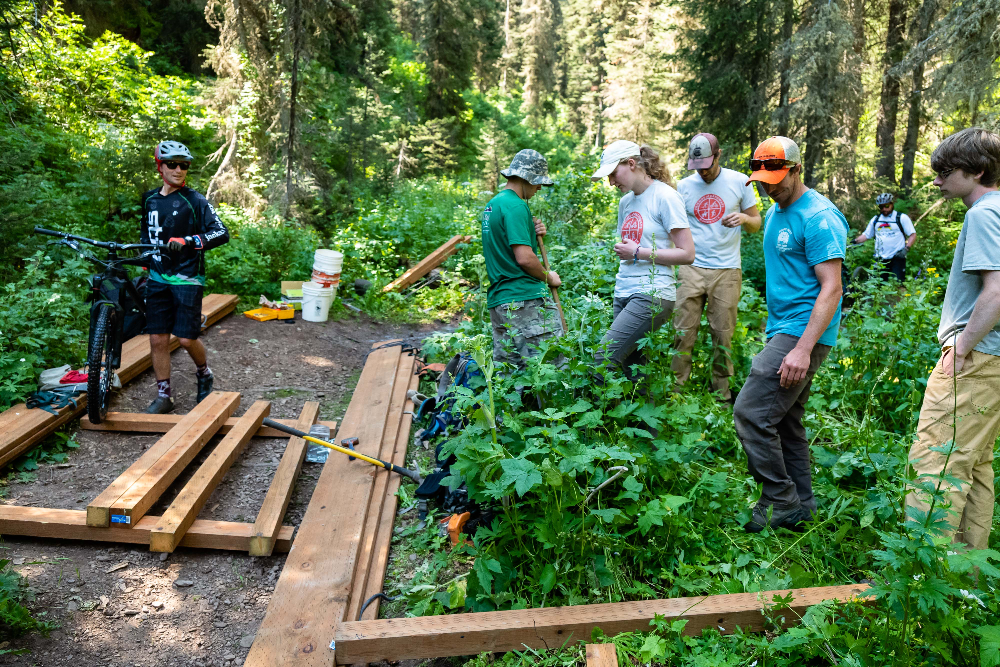 Friends of Pathways Commission - trail building photo - by Jay Goodrich